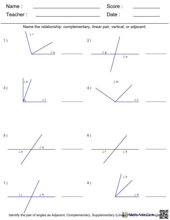 25 Angle Pair Relationships Worksheet - Worksheet Database ...